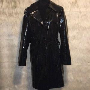 90's Vintage Patent PVC Trench Coat Raincoat XL